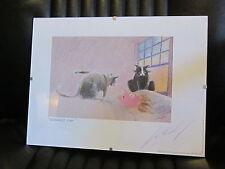 "JEFF LEEDY Ltd. Ed. ""Demando Cat"" 1997 in a Glass Frame 12"" x 9"" Signed"
