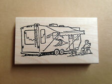 Mounted Rubber Stamp, Camper, Campers, Camping, Summer Vacation, RV Stamps