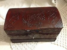 PENTAGRAM Leather Chest Lined Latch Box Tarot Altar Wiccan Pagan Metaphysical
