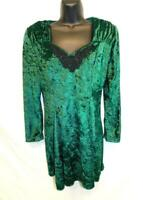 Vintage 80s Marnie West M Green Crushed Velvet Dress Long Sleeve Sweetheart Lace