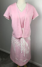 Vintage Alfred Shaheen Hawaii Leisure Print Dress with Jacket Pink Palm Gulls