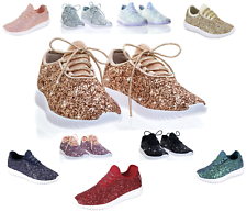 e583b8144a Girls Youth Kids Sequin Glitter Lace Up Fashion Shoes Comfort Athletic  Sneakers