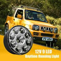 Pair 9 LED Round White Daytime Running Driving Fog Light Lamps DRL 70mm Diameter