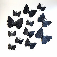 12 Black & Different Size Butterflies 3D WallArt