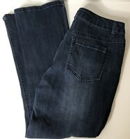 d.jeans Womens Dark Wash Faded Straight Leg Embroidered Pockets Size 8
