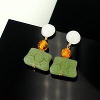 Earrings Golden Amber Jade Imitation Green Resin Engraving Retro DD11