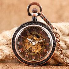 Retro Vintage Skeleton Mechanical Men's Roman Pendant Pocket Watch Hand-winding