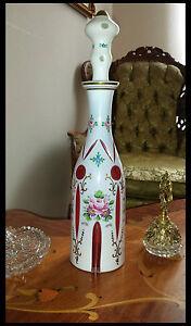 Vintage Bohemian Mozer Art Glass White Cut To Cranberry Decanter bottle 1950'S