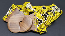 BEADED WOODEN STRETCH ELASTIC BELT WOMEN LADIES FASHION Black & Yellow US SELLER