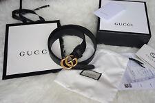 Cintura GG in pelle nera fibbia color oro anticato buona qualità gucci