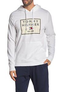 Tommy Hilfiger Sleepwear Men's White Box Logo Long Sleeve Pullover Hoodie