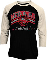 Official Superman Metropolis Athlethics Logo Baseball Shirt New DC Comics