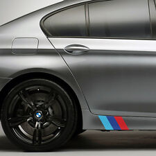 "(2x Sets) 9"" BMW M Series Side Skirt Front Lip Color Flag Decal Kit M3 M5 Emblem"