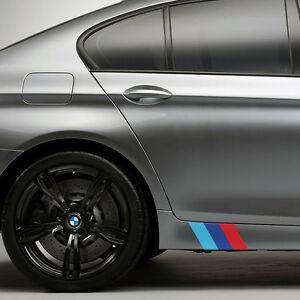 """(2x Sets) 9"""" BMW M Series Side Skirt Front Lip Color Flag Decal Kit M3 M5 Emblem"""