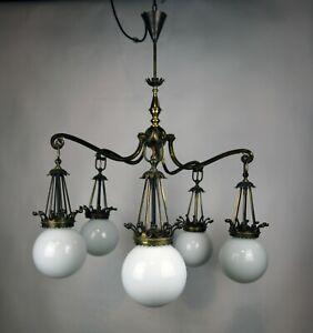 Bekrönter Jugendstil Leuchter - um 1900 - 5 flammig Messing / Opalglas