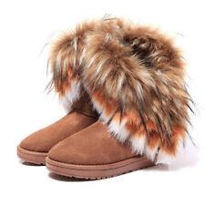 US Women's Winter Casual Warm Suede Faux Fox Fur Short Snow Boots Platform Shoes