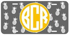 Personalized Monogrammed License Plate Auto Car Tag Pineapple