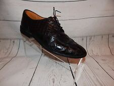 Zelli Black  Crocodile Dress Leather Lace Up Oxford Men's Size Made in Italy