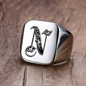 Royal Initial Signet Ring Men Stamp Band Stainless Steel Letter Customized Gift
