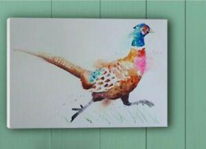 CANVAS PRINT of my original watercolour art painting of a Pheasant bird