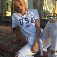 Brandy Melville white cotton crewneck Aleena USA graphic top sz S/M