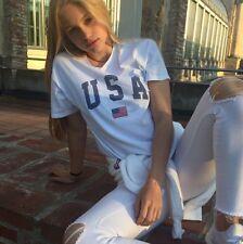 New! Brandy Melville white Aleena USA graphic top sz S/M