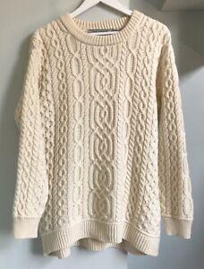 "ARAN CRAFTS Ivory Pure Merino Wool Chunky Knit Jumper XL Pit to Pit 24"" Ireland"