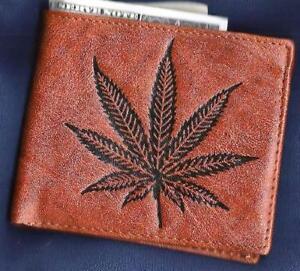 Cannabis WALLET Bi-fold GENUINE LEATHER Marijuana Pot Leaf Weed Hemp US SELLER