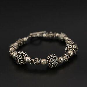 "VTG Sterling Silver - BALI Bead Beaded Chain Link 8"" Toggle Bracelet - 29g"