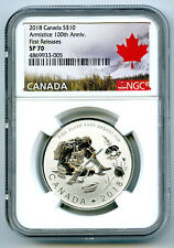 2018 $10 CANADA SILVER NGC SP70 100TH ARMISTICE WWI  FIRST RELEASES 10 DOLLAR