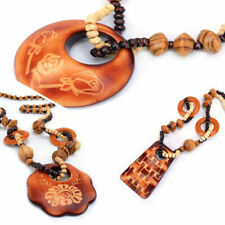 Vintage Jewelry Necklace Wood Pendant Hand Made Bead Long Ethnic Style Fashion