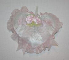 "NEW W/TAGS!  Pink Satin Heart Pillow Flowers & Bow by Details 9.5"" x 8"""