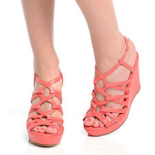NEW WOMEN LADIES ANKLE STRAP PLATFORM SANDALS FASHION HIGH HEEL WEDGES SIZE 3-8