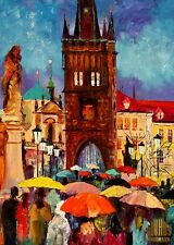 Prague Charles Bridge Rain Umbrellas Limited Edition ACEO Print Art Yary Dluhos.