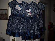 Evy Hello Kitty dark soft navy blue mesh lined dress size  6 / 6x