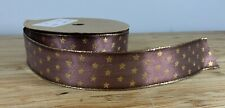Traditional Christmas ribbon. Brown & gold stars wired 25mm Cards crafts Xmas UK