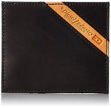 Diesel Wallet X03612 PR227 T8013 Card Holder Black With Orange Logo Stripe
