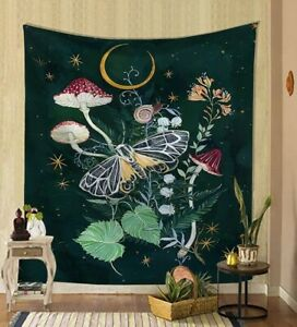 Moth Mushroom Plants Wall Tapestry Hippie Nordic Psychedelic Hanging Home Décor