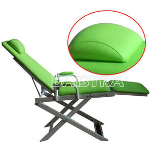 Portable Dental Folding Chair Unit Instrument Equipment Green PU Leather Seat