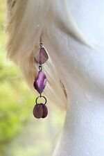 Vintage Purple Drop Earrings Pierced Silver Hook Shell Abstract Long Dangle