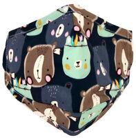Masque Tissu Enfant Fixations Réglables Poche à Filtre Pince Nez 100% Coton