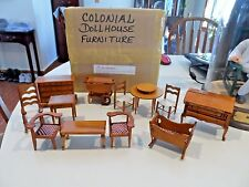 12 pc Wooden Colonial Doll House Furniture - China - NIB