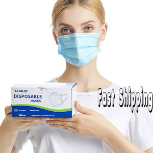 50x Face Mask Surgical 3 Ply Mouth Guard Virus Cover Face Masks Disposable Mask