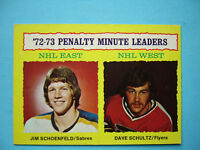 1973/74 TOPPS NHL HOCKEY CARD #5 DAVE SCHULTZ ROOKIE PENALTY LEADERS EX/NM SHARP