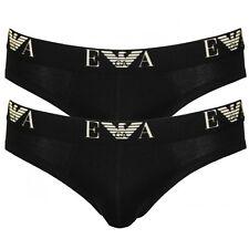 Emporio Armani Mens Underwear Stretch Cotton 2-Pack Basic Briefs, Black