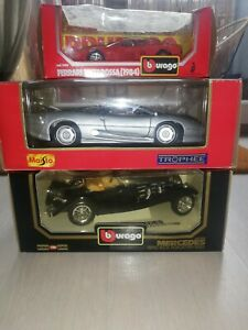 Lot 3 Voitures Miniature 1/18 1/24 Burago Maisto - Jaguar Mercedes Ferrari