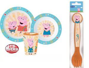 Peppa Pig Boys Girls 5 Piece Plate Bowl Cup Spoon Fork Set Dinner Breakfast Set