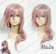 Final Fantasy 13 LIGHTNING Long Pink Cosplay Wavy Wig + wigs cap :a