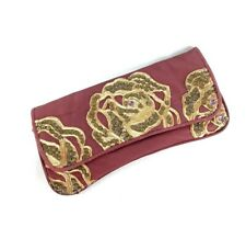 BETSEY JOHNSON Pink Floral Beaded Sequins Faux Leather Clutch Purse Handbag