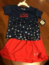 New Toddler Girls Under Armour Usa Blue/red Toddler Outfit-size 3t
